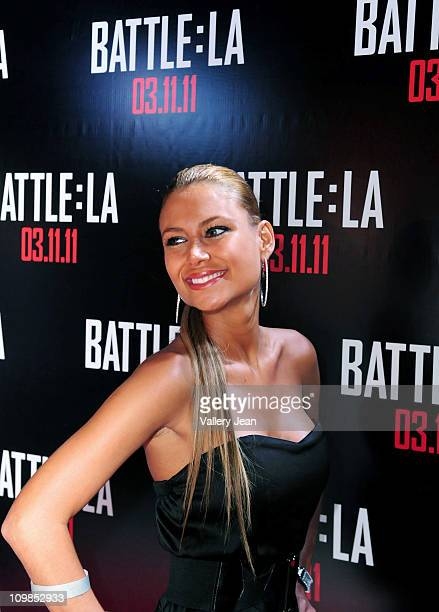 Alejandra Pinzon attends the 'Battle Los Angeles' red carpet screening at Regal South Beach on March 7 2011 in Miami Florida