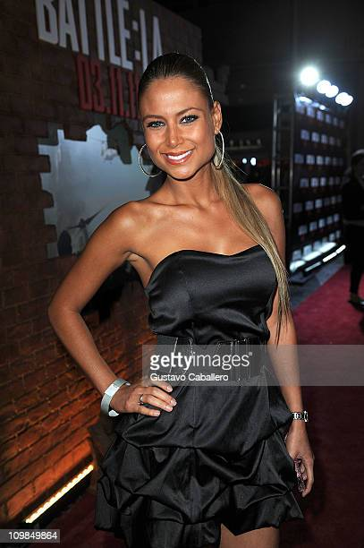 Alejandra Pinzon attends the Battle LA red carpet screening at Regal South Beach on March 7 2011 in Miami Florida