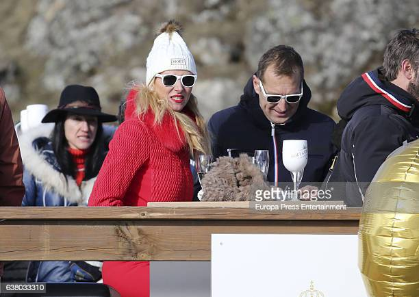 Alejandra Prat and Juan Manuel Alcaraz attend Moet Winter Lounge In Baqueira ski resort on December 5 2016 in Baqueira Beret Spain
