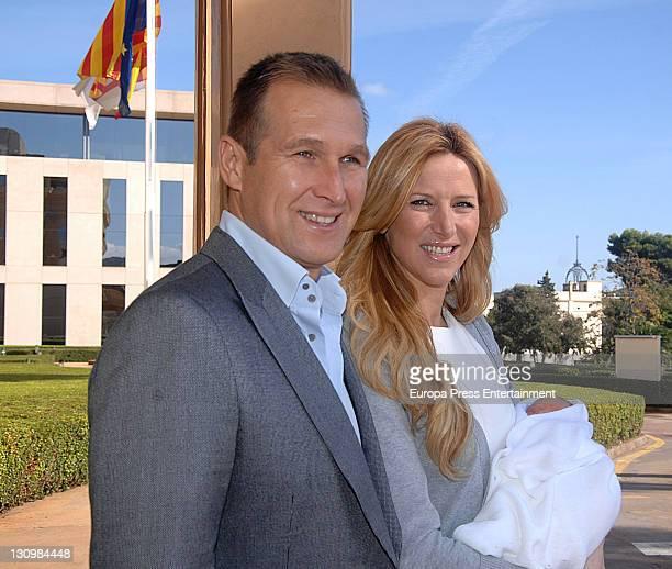 Alejandra Prat and Juan Manuel Alcaraz present their baby Amaro to the press at Clinic Tecknon on October 30 2011 in Barcelona Spain