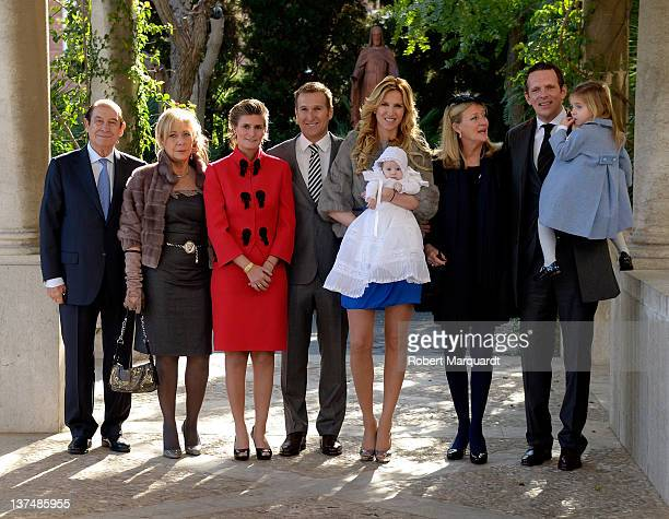 Alejandra Prat and Juan Manuel Alcarez assist in the baptism of their son Amaro at the Parroquia Maria Reina de Pedralbes on January 21 2012 in...