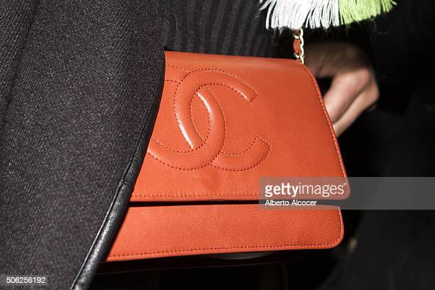 Alejandra Prat Chanel bag detail during the 'NV' Fashion Show as part of kids fashion week on January 22 2016 in Madrid Spain