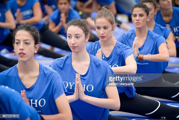 Alejandra Quereda Sandra Aguilar Elena Lopez and Lourdes Mohedano attend the Free Yoga by Oysho event at the Arc de Triomf on September 17 2016 in...