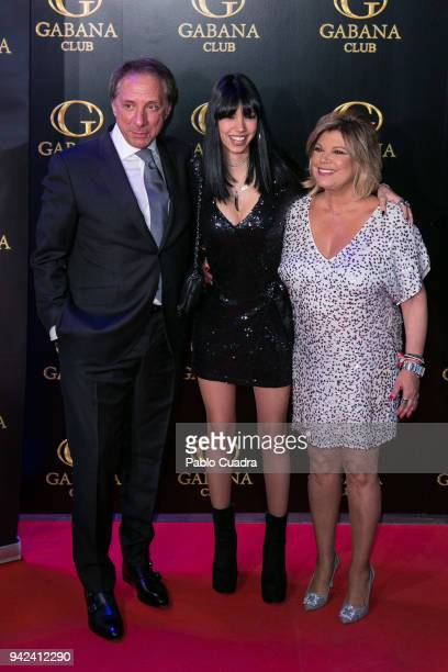 Alejandra Rubio and her parents Terelu Campos and Alejandro Rubio attend the Alejandra Rubio 18th birthday party at Gabana Club on April 5 2018 in...