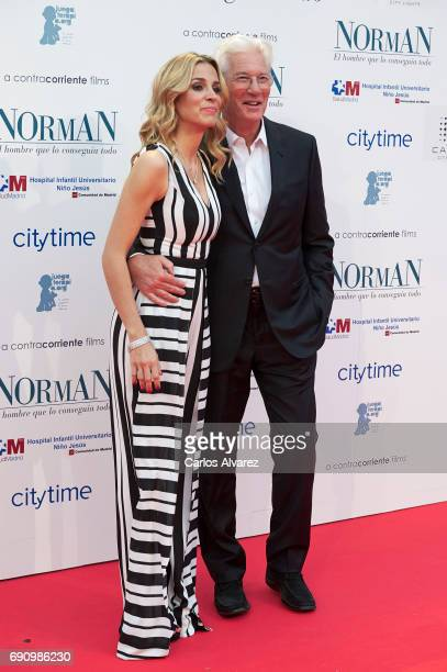 Alejandra Silva and actor Richard Gere attend the 'Norman The Moderate Rise and Tragic Fall of a New York Fixer' premiere at the Callao cinema on May...