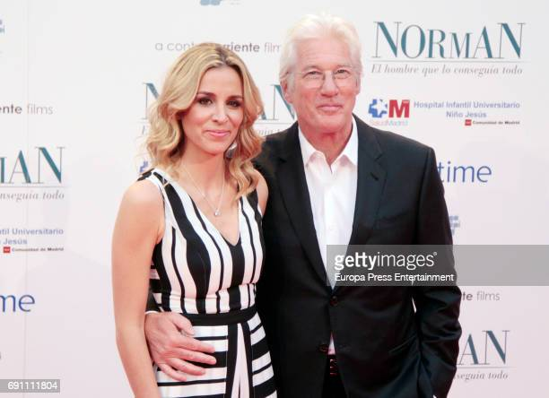 Alejandra Silva and Richard Gere attend the 'Norman: The Moderate Rise and Tragic Fall of a New York Fixer' premiere at the Callao cinema on May 31,...