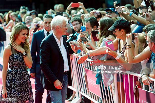Alejandra Silva and Richard Gere attend 'Time Out Of Mind' premiere during 64th San Sebastian Film Festival on September 24 2016 in San Sebastian...