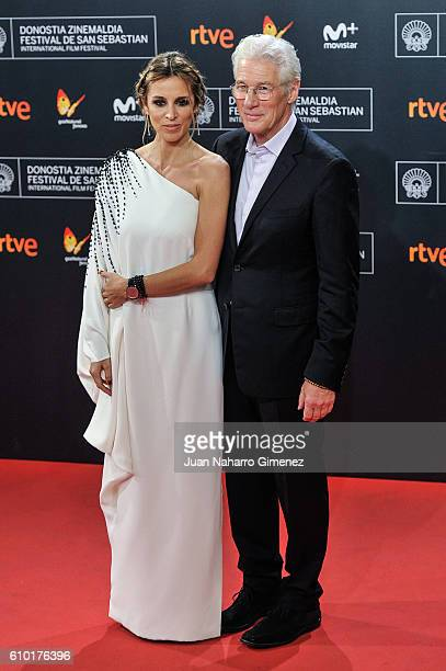 Alejandra Silva and Richard Gere attends the red carpet of the closing gala of 64th San Sebastian Film Festival at Kursaal on September 24, 2016 in...