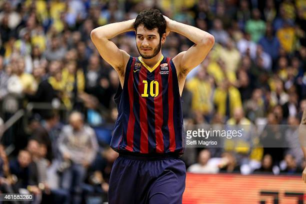 Alejandro Abrines #10 of FC Barcelona disappointed during the Euroleague Basketball Top 16 Date 3 game between Maccabi Electra Tel Aviv v FC...