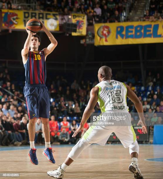 Alejandro Abrines #10 of FC Barcelona in action during the 20132014 Turkish Airlines Euroleague Top 16 Date 4 game between FC Barcelona Regal v...