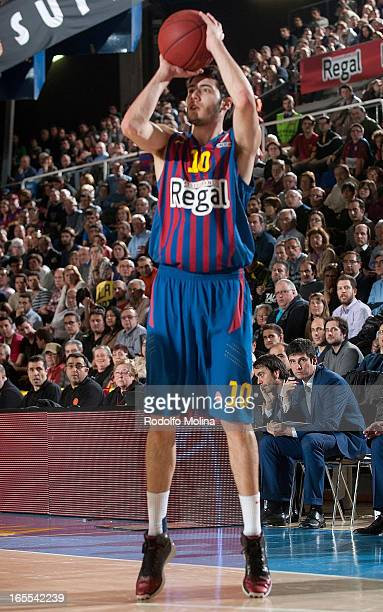 Alejandro Abrines #10 of FC Barcelona Regal in action during the 20122013 Turkish Airlines Euroleague Top 16 Date 14 between FC Barcelona Regal v...