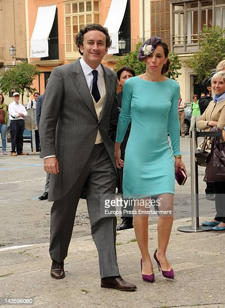 Alejandro Agag and Ana Boyer attend Sabina Fluxa and Alfonso Fierro March's wedding on April 28 2012 in Palma de Mallorca Spain
