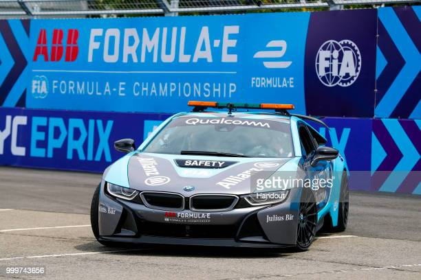 Alejandro Agag CEO Formula E drives Actress Liv Tyler around the circuit on July 14 2018 in New York United States