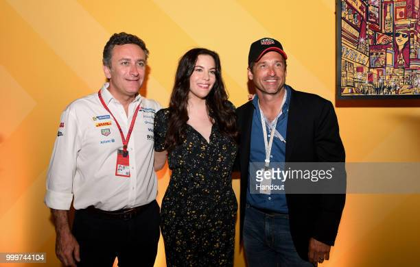 Alejandro Agag CEO Formula E with Actress Liv Tyler and Actor Patrick Dempsey on July 14 2018 in New York United States