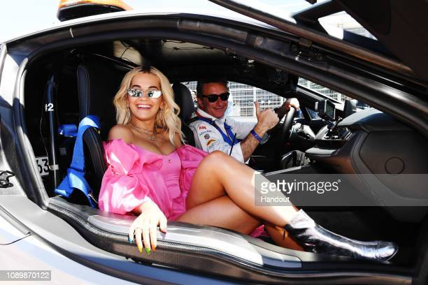 Alejandro Agag CEO Formula E with Rita Ora in the Qualcomm BMW i8 Safety car during the Santiago Eprix at Parque O'Higgins Circuit on January 26 2019...