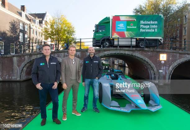 Alejandro Agag Founder and CEO Formula E Nico Rosberg former Formula 1 World Champion and Heineken ambassador and Gianluca Di Tondo Senior Director...