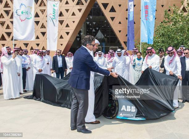 Alejandro Agag Founder and CEO of Formula E and His Excellency Eng Saleh Nasser AlJasser unveil the Gen2 Formula E car at the Ad Diriyah UNESCO...