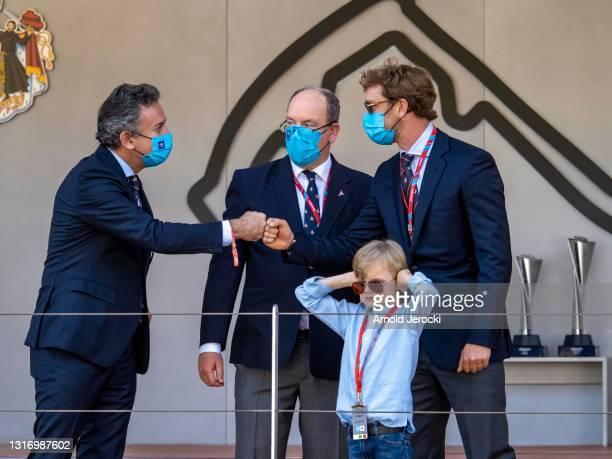 Alejandro Agag, HSH Prince Albert II of Monaco, Prince Jacques and Pierre Casiraghi attends the ABB FIA Formula E Monaco E-Prix on May 08, 2021 in...