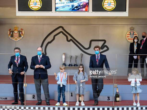 Alejandro Agag, HSH Prince Albert II of Monaco, Prince Jacques, Kaia Rose Wittstock, Pierre Casiraghi and Princess Gabriella attend the ABB FIA...