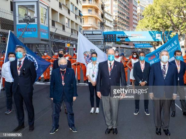Alejandro Agag, Jean Todt and HSH Prince Albert II of Monaco and Pierre Dartout attends the ABB FIA Formula E Monaco E-Prix on May 08, 2021 in...