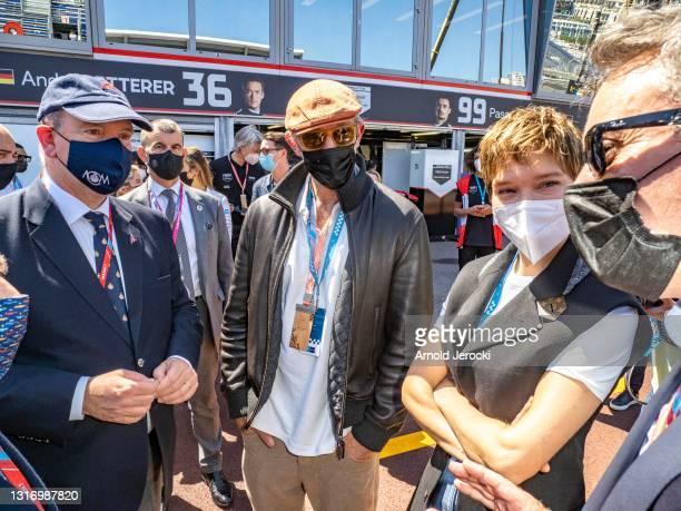 Alejandro Agag, Lea Seydoux, Vincent Cassel and HSH Prince Albert II of Monaco attends the ABB FIA Formula E Monaco E-Prix on May 08, 2021 in Monaco,...