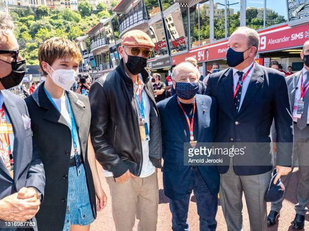 Alejandro Agag, Lea Seydoux, Vincent Cassel, Jean Todt and HSH Prince Albert II of Monaco attends the ABB FIA Formula E Monaco E-Prix on May 08, 2021...