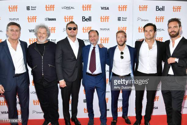 Alejandro Agag Malcolm Venville Leonardo DiCaprio Fisher Stevens Sam Bird Nelson Piquet Jr and JeanEric Vergne attend the And We Go Green premiere...