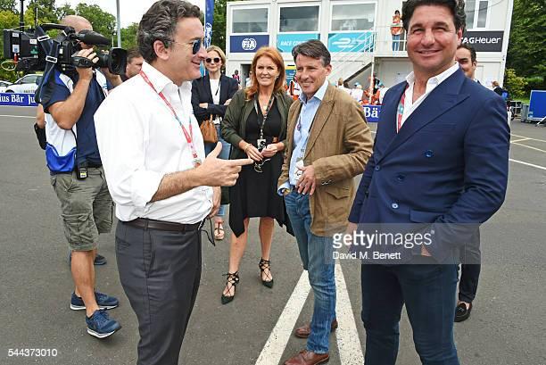 Alejandro Agag Sarah Ferguson Duchess of York Lord Sebastian Coe and Giorgio Veroni attend day 2 of the 2016 FIA Formula E Visa London ePrix in...