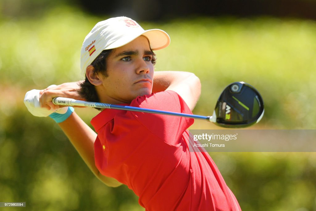 Alejandro Aguilera Martin of Spain hits his tee shot on the 1st hole during the second round of the Toyota Junior Golf World Cup at Chukyo Golf Club on June 13, 2018 in Toyota, Aichi, Japan.