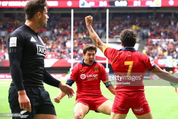 Alejandro Alonso of Spain celebrates with teammate Pol Pla after defeating New Zealand 2624 during day 1 of the 2019 Canada Sevens Rugby Tournament...