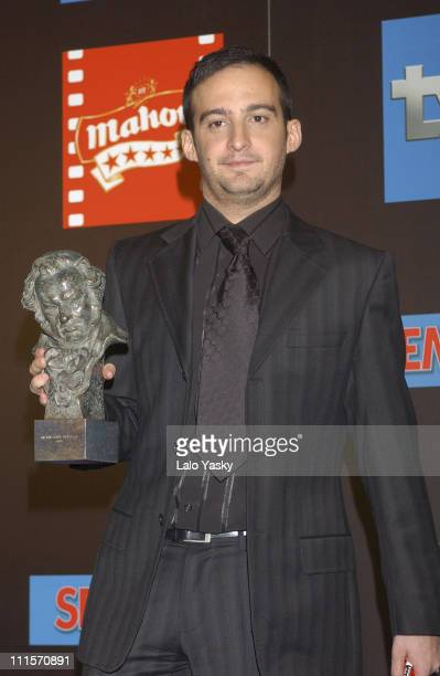 Alejandro Amenabar With his Goya Awards for Best Film Best Director Best Original Music and Best Script for the film 'The Sea Inside'