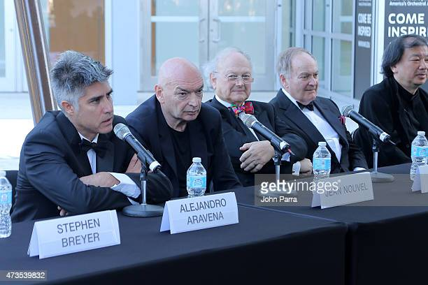 Alejandro Aravena Jean Nouvel Glenn Murcutt and Lord Peter Palumbo during Pritzker Architecture Prize 2015 at New World Symphony on May 15 2015 in...