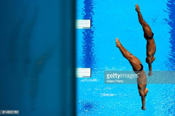 Alejandro Arias Munoz of Columbia and Sebastian Morales Mendoza of Columbia competes during the **** on day two of the Budapest 2017 FINA World...