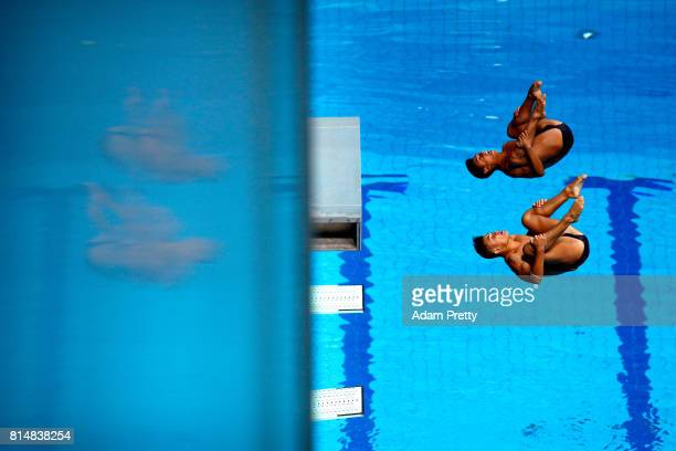 Alejandro Arias Munoz of Columbia and Sebastian Morales Mendoza of Columbia competes during the Men's Diving 3m Sychro Springboard Preliminary Round...