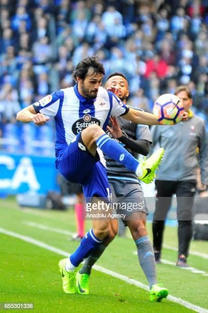 Alejandro Arribas of Deportivo de La Coruna in action against Theo Bongonda of Celta de Vigo during the La Liga football match between Deportivo de...