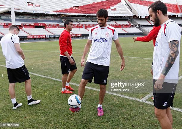 Alejandro Arribas of Sevilla FC practices during a training session at Monumental Antonio Vespucio Liberti Stadium on March 25 2015 in Buenos Aires...