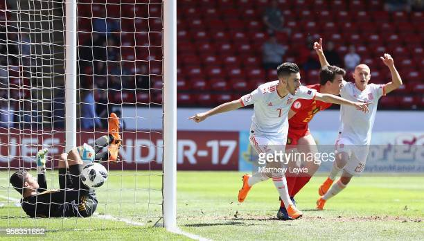 Alejandro Baena Rodriguez of Spain celebrates his goal during the UEFA European Under-17 Championship Quarter Final match between Belgium and Spain...