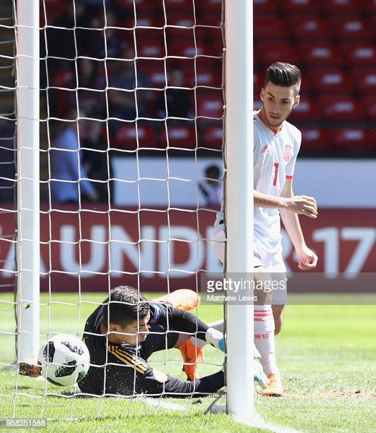 Alejandro Baena Rodriguez of Spain scores a goal during the UEFA European Under-17 Championship Quarter Final match between Belgium and Spain at on...