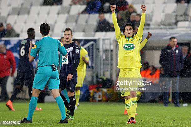 Alejandro Bedoya for FC Nantes after the victory in the French Cup match between FC Girondins de Bordeaux and FC Nantes at Stade Matmut Atlantique at...