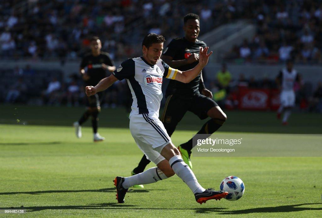 Alejandro Bedoya #11 of Philadelphia Union crosses during the MLS match at Banc of California Stadium on June 30, 2018 in Los Angeles, California. Los Angeles FC defeated the Philadelphia Union 4-1.