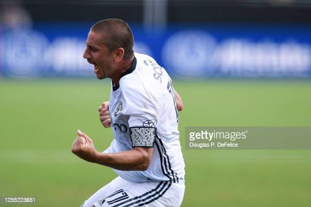 Alejandro Bedoya of Philadelphia Union reacts after scoring a goal during the second half against the New York City FC in the MLS is Back Tournament...