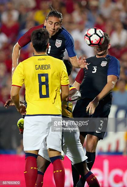 Alejandro Bedoya of the United States and Steve Birnbaum of the United States control the ball against Fernando Gaibor of Ecuador during an...