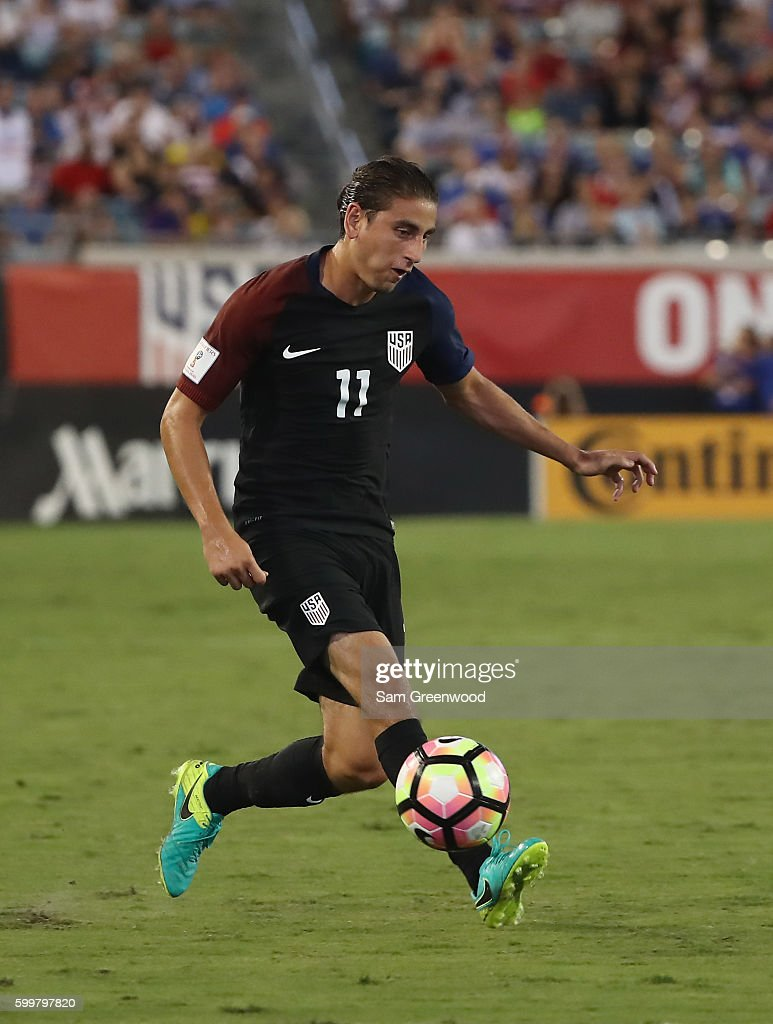 Alejandro Bedoya #11 of the United States attempts a pass during the FIFA 2018 World Cup Qualifier against Trinidad &Tobago at EverBank Field on September 6, 2016 in Jacksonville, Florida.