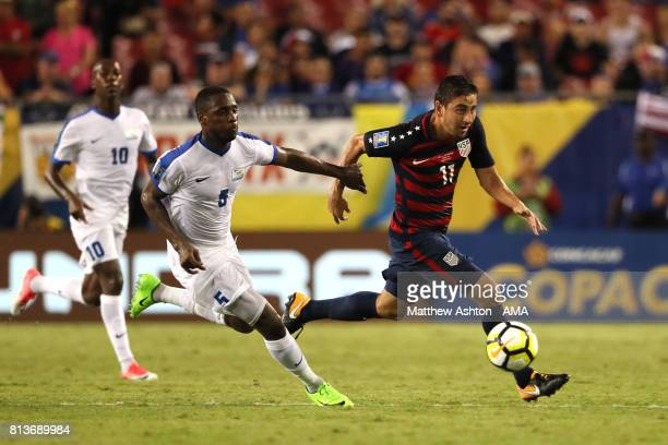 Alejandro Bedoya of the United States competes with Karl Vitulin of Martinique during the 2017 CONCACAF Gold Cup Group B match between the United...