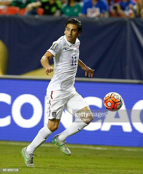 Alejandro Bedoya of the United States dribbles during the 2015 CONCACAF Gold Cup semifinal match against Jamaica at Georgia Dome on July 22 2015 in...