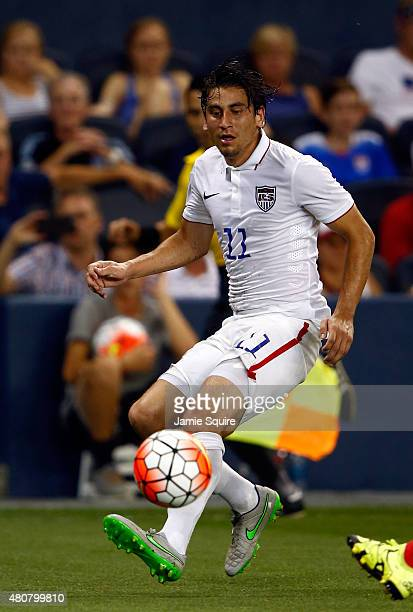Alejandro Bedoya of the United States in action during the CONCACAF Gold Cup match against Panama at Sporting Park on July 13 2015 in Kansas City...