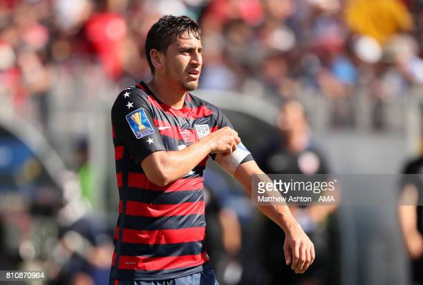 Alejandro Bedoya of the United States looks on during the 2017 CONCACAF Gold Cup Group B match between the United States and Panama at Nissan Stadium...