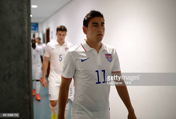 Alejandro Bedoya of the United States walks out from the dressing room prior to the 2014 FIFA World Cup Brazil Round of 16 match between Belgium and...