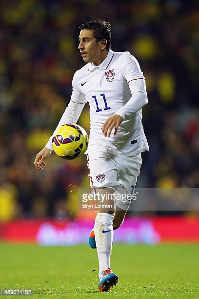 Alejandro Bedoya of the USA in action during the International Friendly between the USA and Colombia at Craven Cottage on November 14 2014 in London...