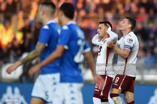 Alejandro Berenguer of Torino celebrates with Andrea Belotti after scoring his team's fourth goal during the Serie A match between Brescia Calcio and...
